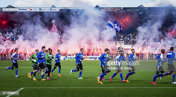 Players of PEC Zwolle take part in a training session in Zwolle on May 2 a day before the Dutch KNVB Cup Zwolle vs FC Groningen AFP PHOTO / ANP /...