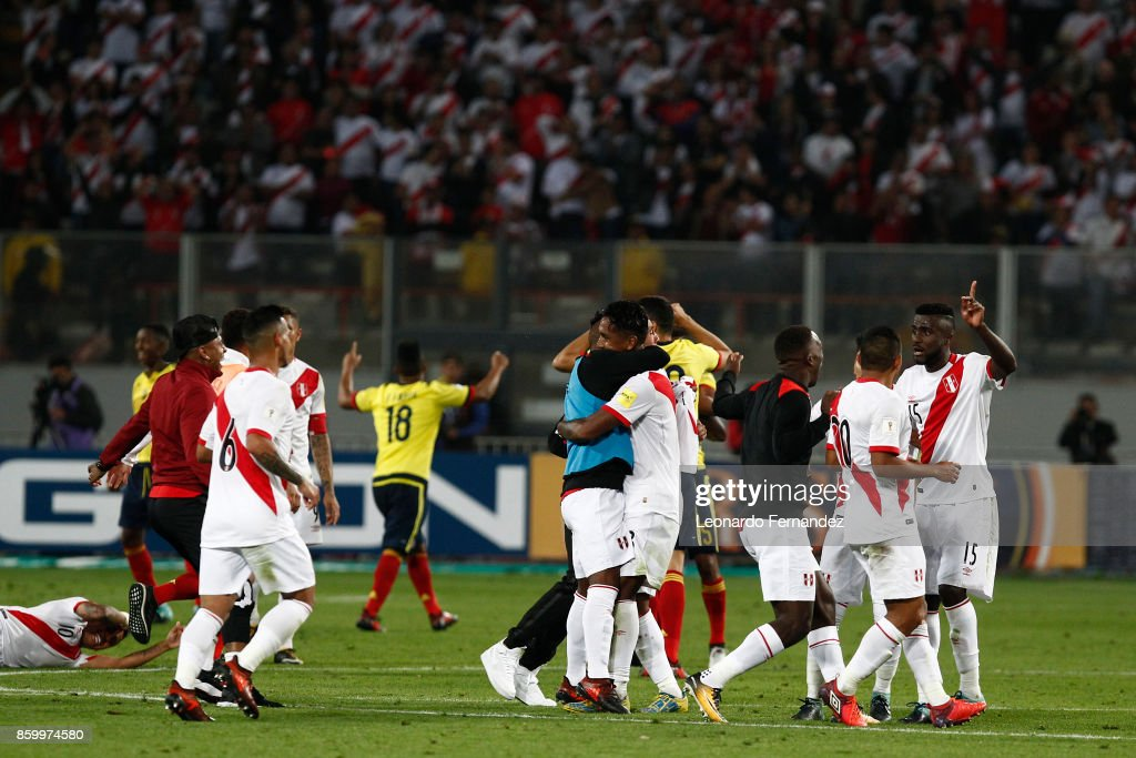 Players of Peru celebrate after a match between Peru and Colombia as part of FIFA 2018 World Cup Qualifiers at National Stadium on October 10, 2017 in Lima, Peru.