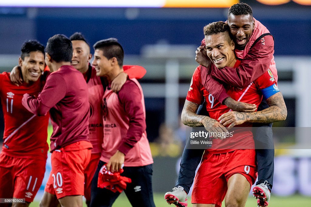 Players of Peru celerate after winning a group B match between Brazil and Peru at Gillette Stadium as part of Copa America Centenario US 2016 on June...