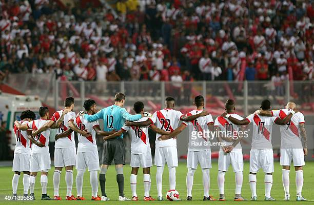 Players of Peru stand prior a match between Peru and Paraguay as part of FIFA 2018 World Cup Qualifiers at Nacional Stadium on November 13 2015 in...