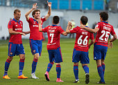 Players of PFC CSKA Moscow celebrate a goal during the Russian Premier League match between PFC CSKA Moscow and FC Anzhi Makhachkala at the Arena...