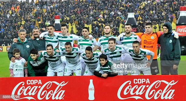Players of Plaza Colonia pose before a match between Penarol and Plaza Colonia as part of Campeonato Uruguayo at Campeon del Siglo Stadium on May 29...