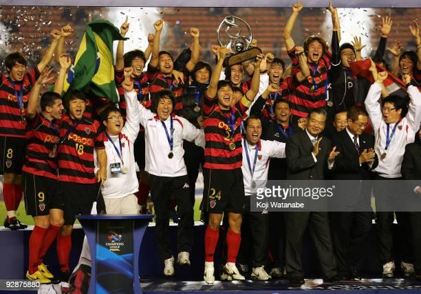 Players of Pohang Steelers celebrates after winning during 2009 AFC Champions League Final match between Al Ittihad and Pohang Steelers at the...