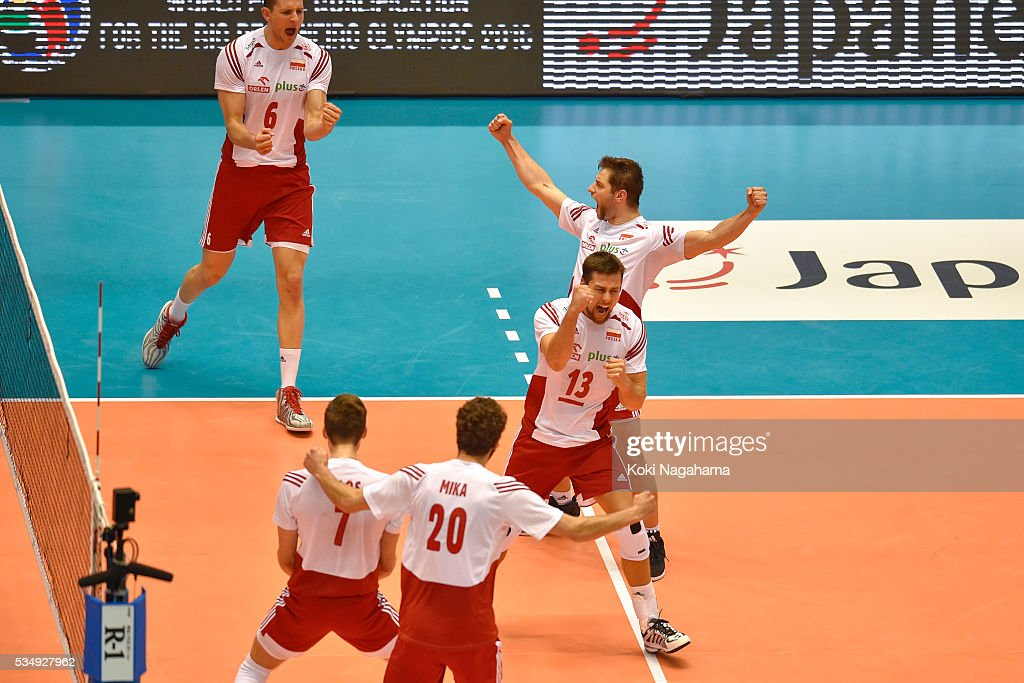 Players of Poland celebrate a point during the Men's World Olympic Qualification game between Poland and Canada at Tokyo Metropolitan Gymnasium on May 28, 2016 in Tokyo, Japan.