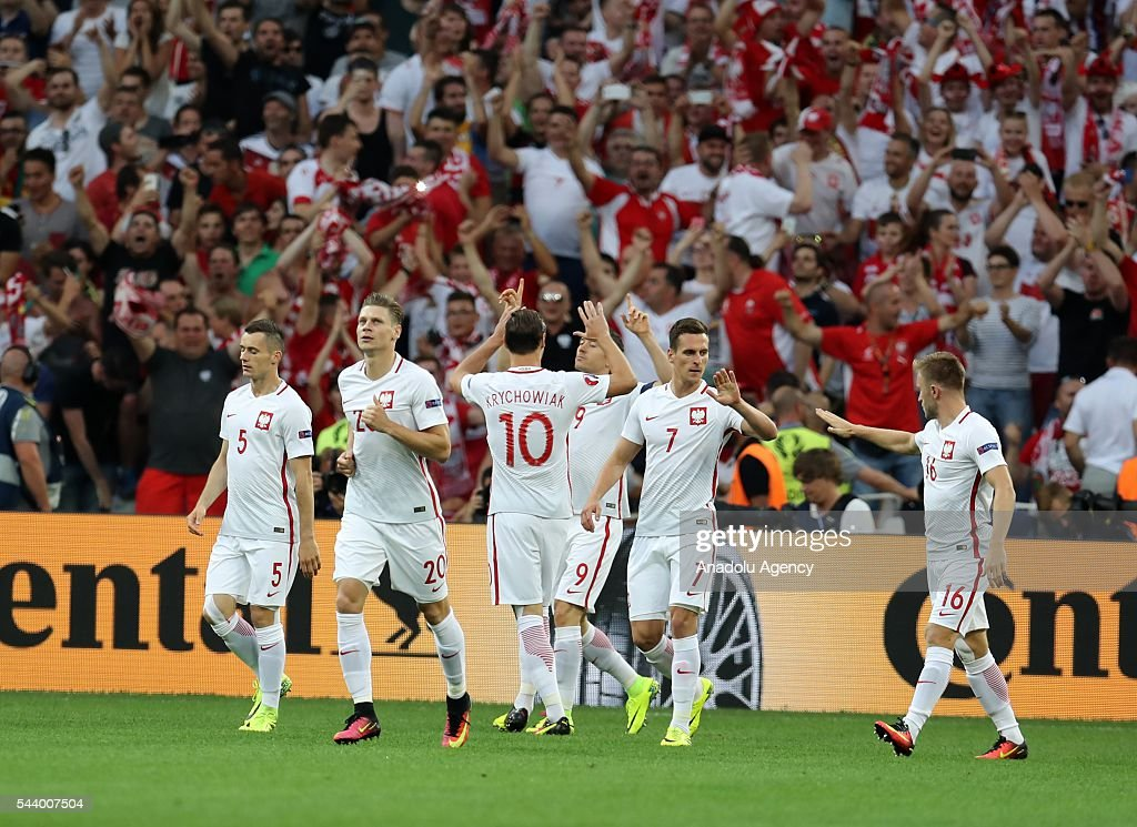 Players of Poland celebrate after scoring a goal during the Euro 2016 quarter-final football match between Poland and Portugal at the Stade Velodrome in Marseille, France on June 30, 2016.