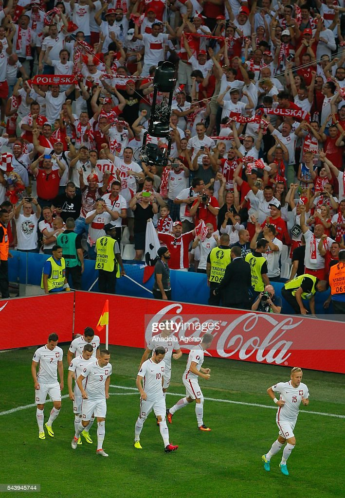 Players of Poland celebrate scoring a goal during the Euro 2016 quarter-final football match between Poland and Portugal at the Stade Velodrome in Marseille, France on June 30, 2016.