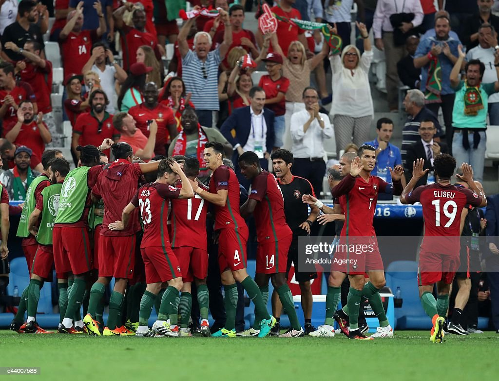 Players of Portugal celebrate after scoring a goal during the Euro 2016 quarter-final football match between Poland and Portugal at the Stade Velodrome in Marseille, France on June 30, 2016.