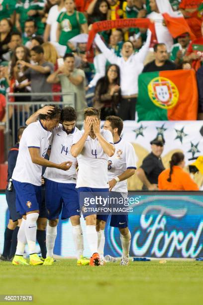 Players of Portugal celebrates the winning goal during the Internatinal friendly match between Mexico and Portugal at Gillette Stadium on June 06...