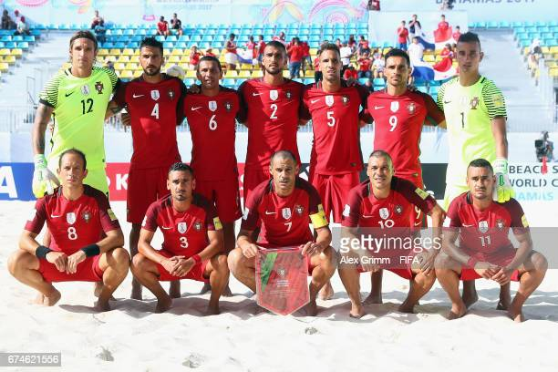 Players of Portugal pose for a team photo prior to the FIFA Beach Soccer World Cup Bahamas 2017 group C match between Portugal and Panama at National...