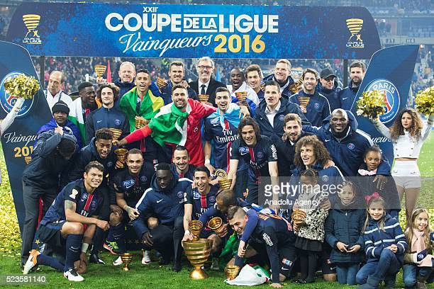 Players of PSG celebrate winning the French League Cup final between Paris SaintGermain and Lille OSC at Stade de France on April 23 2016 in Paris