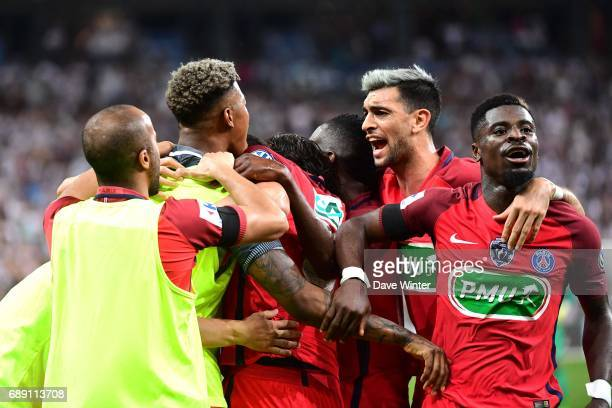 Players of Psg Javier Pastore and Serge Aurier celebrates the winning goal of PSG during the National Cup Final match between Angers SCO and Paris...