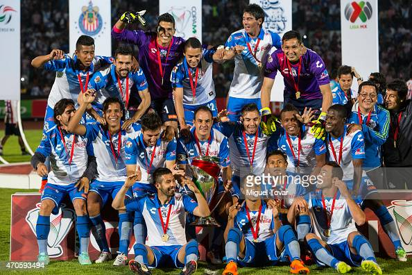 Players of Puebla celebrate after winning the Championship match between Puebla and Chivas as part of Copa MX Clausura 2015 at Olimpico Universitario...