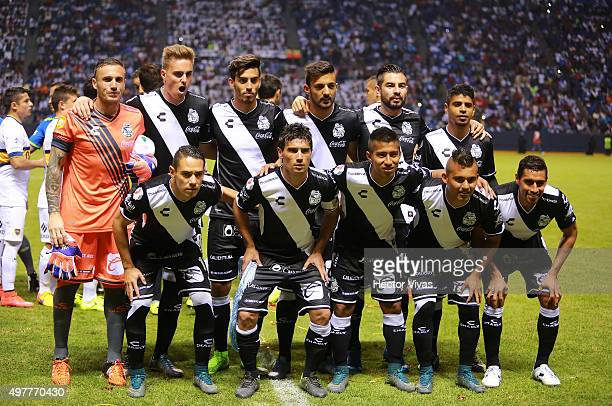 Players of Puebla pose for pictures prior the friendly match between Puebla and Boca Juniors at Cuauhtemoc Stadium on November 18 2015 in Puebla...