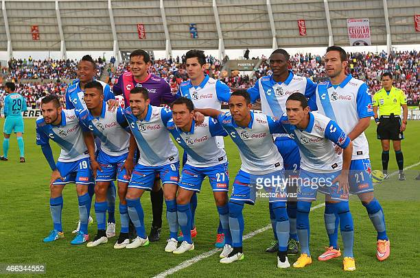Players of Puebla pose prior a match between Puebla and Chivas as part of 10th round Clausura 2015 Liga MX at BUAP Olympic Stadium on March 14 2015...