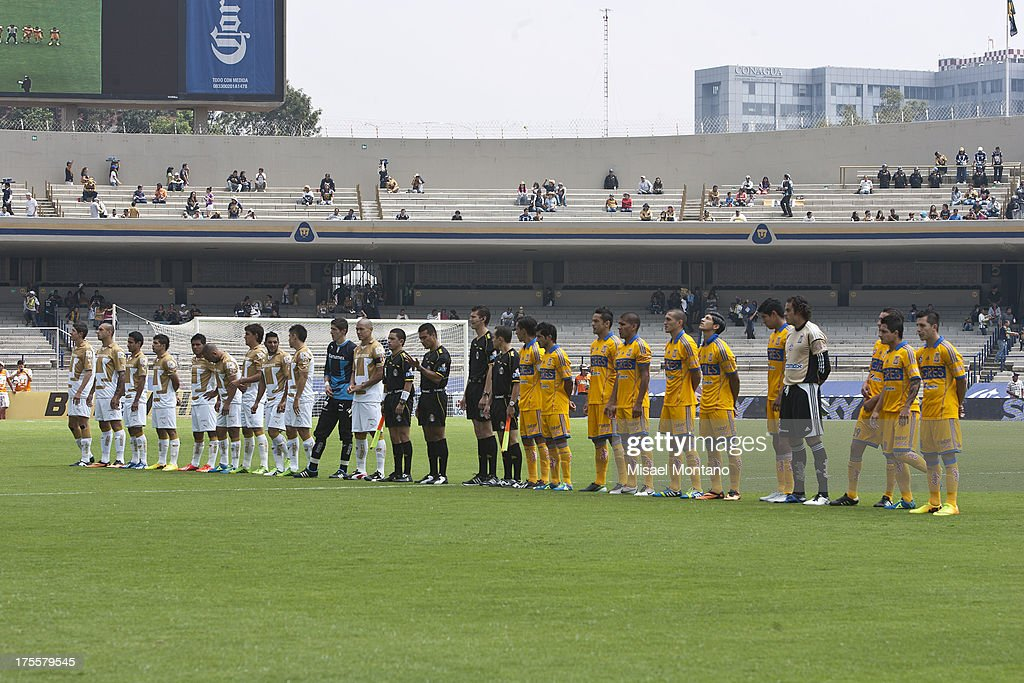 Players of Pumas and Tigres during a match between Pumas and Tigres as part of Torneo Apertura of Liga MX 2013 ar Olympic Stadium on August 04, 2013 in Mexico City, Mexico.