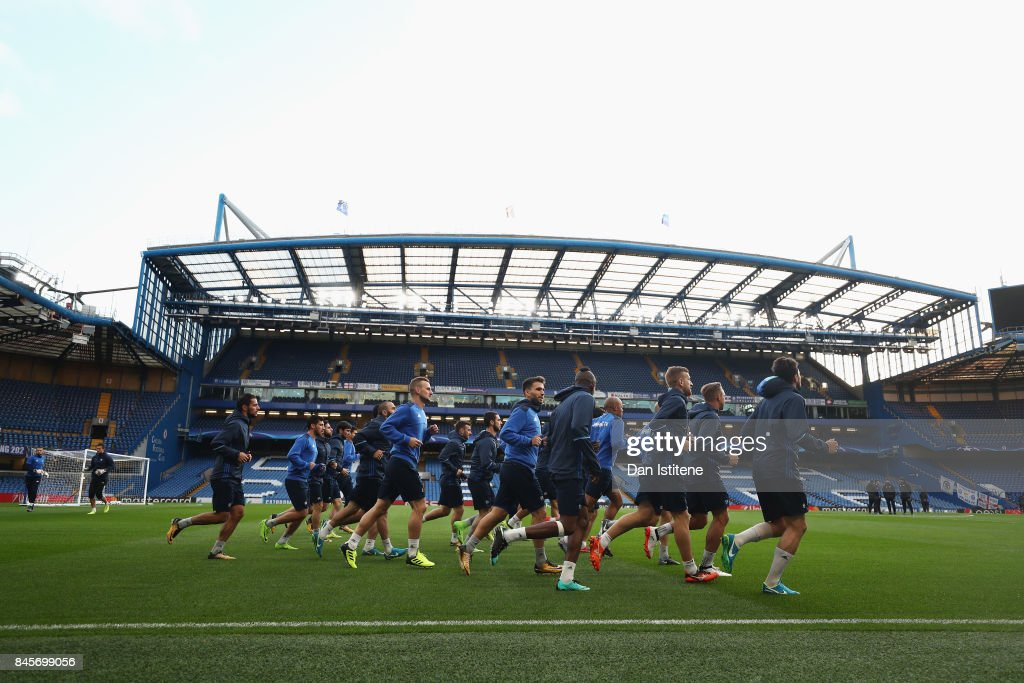 Players of Qarabag FK warm up during a Qarabag training session ahead of the UEFA Champions League Group C match against Chelsea at Stamford Bridge on September 11, 2017 in London, England.
