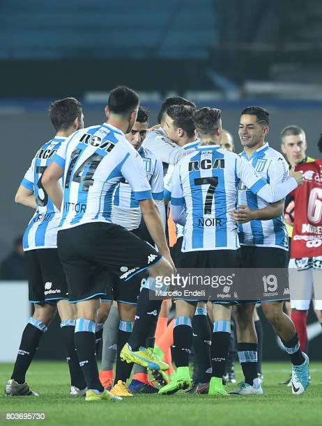 Players of Racing Club celebrate after the first leg match between Racing Club and Independiente Medellin as part of second round of Copa Conmebol...