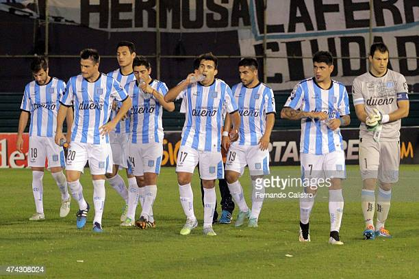 Players of Racing Club leave the field after losing a first leg match between Guarani and Racing Club as part of quarterfinals of Copa Bridgestone...