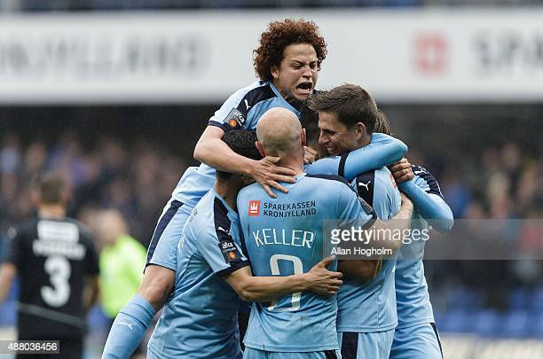 Players of Randers FC celebrates after scoring their first goal during the Danish Alka Superliga match between Randers FC and Sonderjyske at AutoC...