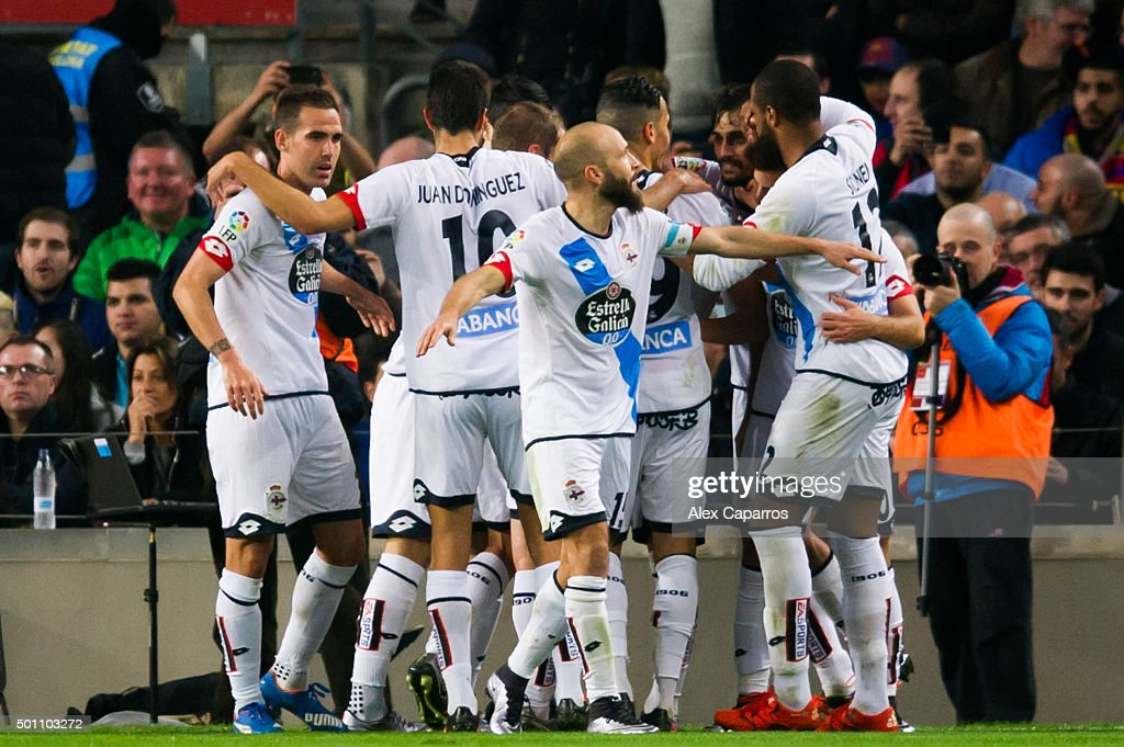 Players of RC Deportivo La Coruna celebrate after their teammate Alex Bergantinos scored his team's second goal during the La Liga match between FC...