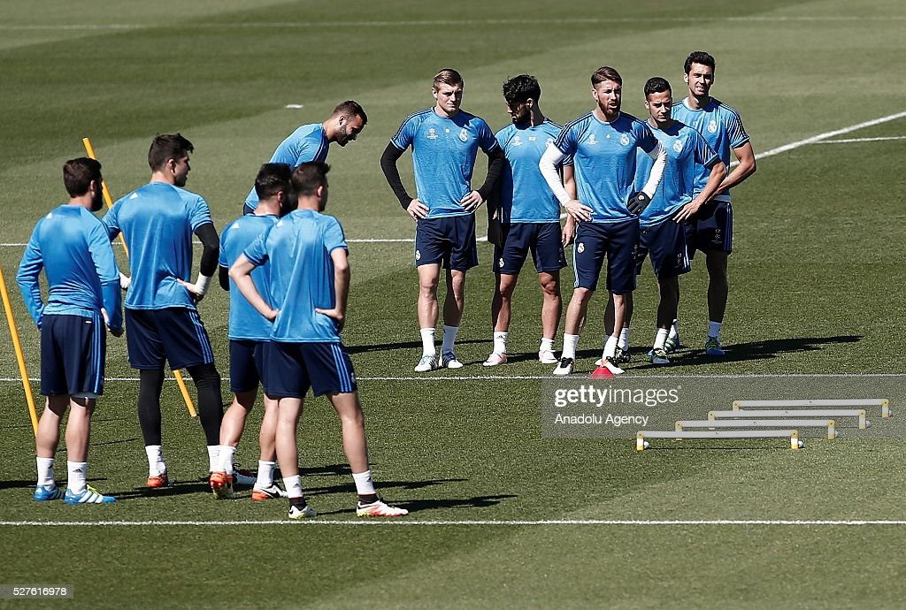Players of Real Madrid attend training session ahead of UEFA Champions League semi-final second leg football match between Real Madrid CF and Manchester City at Valdebebas training ground in Madrid, Spain on May 3, 2016.