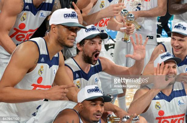 Players of Real Madrid celebrate after winning Copa del Rey's final match between Real Madrid and Valencia BC at Fernando Buesa Arena in...