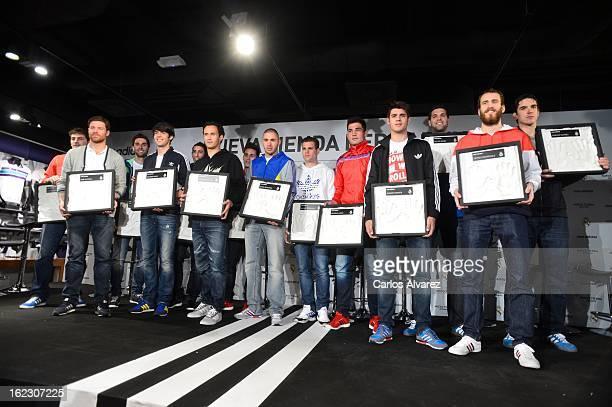 Players of Real Madrid CF and Ral Madrid Basketball Iker Casillas Xabi Alonso Alvaro Arbeloa Ricardo Kaka Angel Di Maria Ricardo Carvalho Jose...