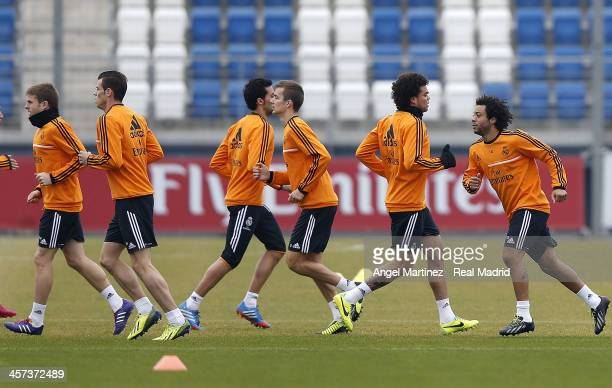 Players of Real Madrid exercise during a training session at Ciudad Real Madrid on December 17 2013 in Madrid Spain