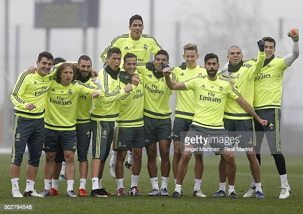 Players of Real Madrid pose after a training session at Valdebebas training ground on December 29 2015 in Madrid Spain