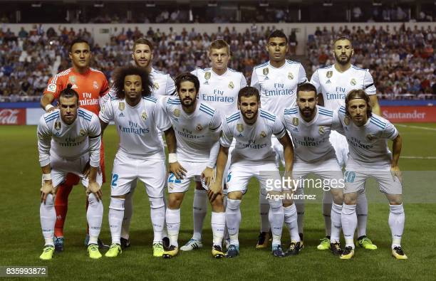 Players of Real Madrid pose before he La Liga match between Deportivo La Coruna and Real Madrid CF at Riazor Stadium on August 20 2017 in La Coruna...