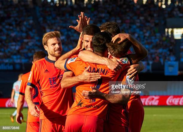 Players of Real Sociedad celebrate after scoring the second goal during the La Liga match between Celta de Vigo and Real Sociedad at Balaidos Stadium...