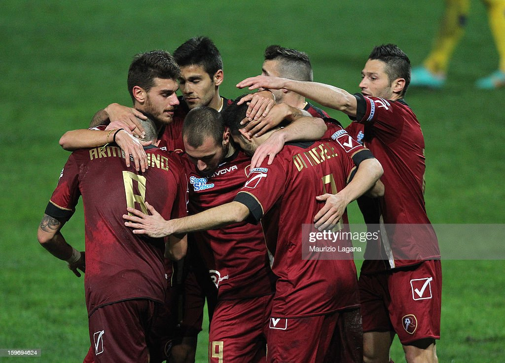 Players of Reggina celebrates the opening goal during the friendly match between Reggina Calcio and FC Sion on January 18, 2013 in Reggio Calabria, Italy.