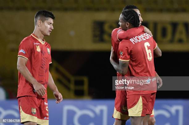 Players of Rionegro Aguilas celebrate after a match between Millonarios and Rionegro Aguilas as part of Liga Aguila II 2017 at Nemesio Camacho...