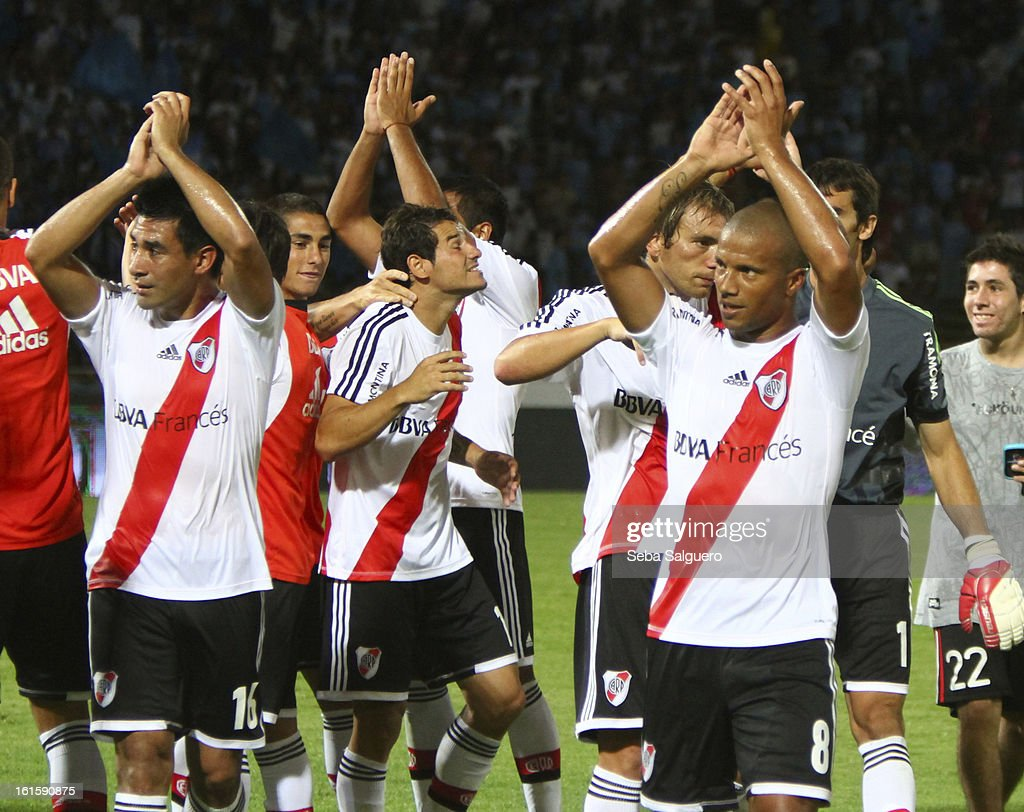 Players of River celebrate after a match between Belgrano and River for the Torneo Final 2013 on February 10, 2013 in Cordoba, Argentina.