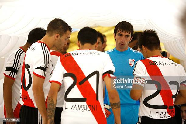 Players of River Plate before a match between River Plate and Lanus as part of Copa Total Sudamericana at Antonio Vespucio Liberti Stadium on...