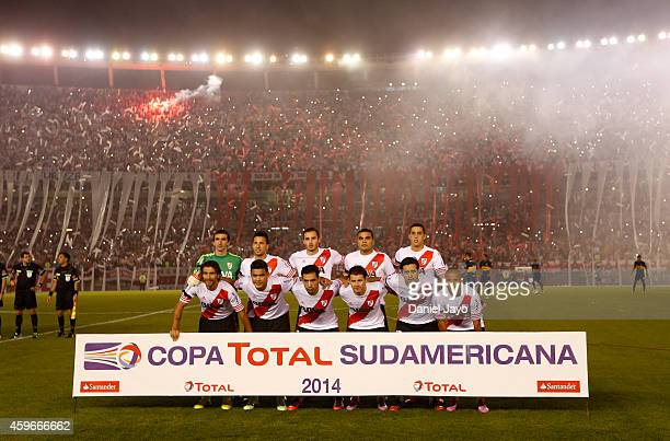 Players of River Plate before a second leg semifinal match between River Plate and Boca Juniors as part of Copa Total Sudamericana 2014 at Monumental...