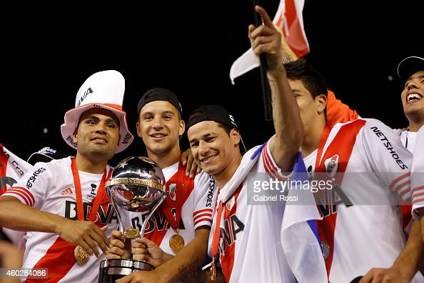 Players of River Plate celebrate after wining the second leg final match between River Plate and Atletico Nacional as part of Copa Total Sudamericana...
