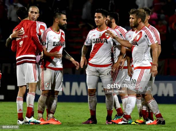 Players of River Plate celebrate after winning a match for a group stage match between Deporivo Independiente Medellin and River Plate as part of...