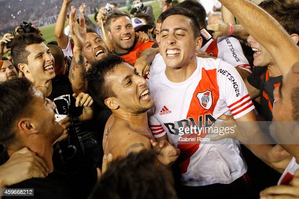 Players of River Plate celebrate after winning a second leg semifinal match between River Plate and Boca Juniors as part of Copa Total Sudamericana...
