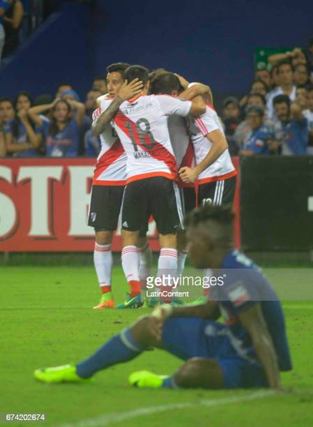 Players of River Plate celebrate their second goal during a group stage match between Emelec and River Plate as part of Copa CONMEBOL Libertadores...
