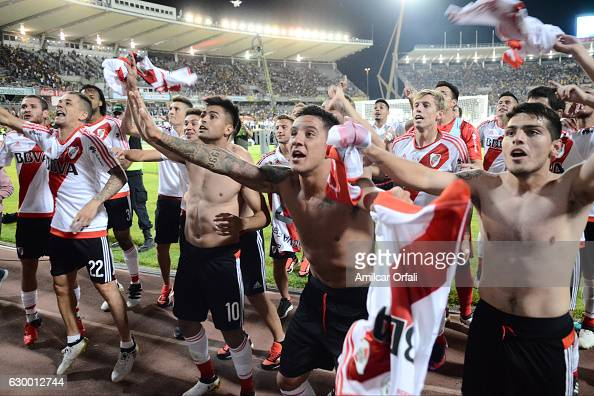 Players of River Plate celebrate with fans after winning the Copa Argentina 2016 after a final match between River Plate and Rosario Central as part...