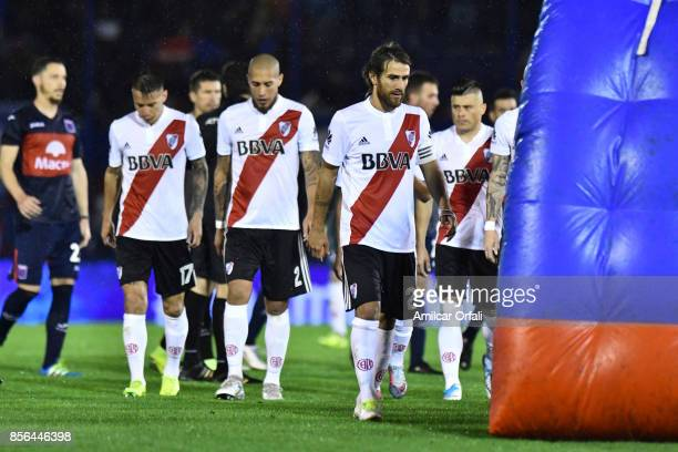Players of River Plate leave the field after a match between Tigre and River Plate as part of Superliga 2017/18 at Jose Dellagiovanna Stadium on...