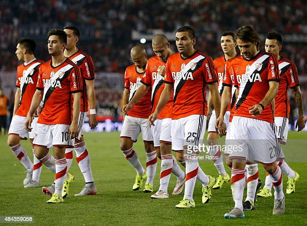 Players of River Plate leave the field after the first half of a match between River Plate and San Martin as part of 20th round of Torneo Primera...