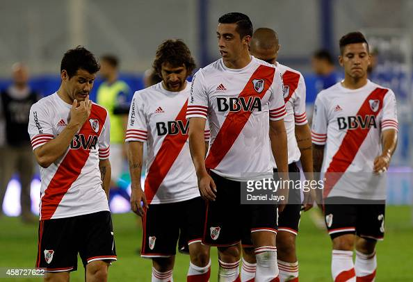 Players of River Plate leave the field at the end of a match between Velez Sarsfield and River Plate as part of 15th round of Torneo de Transicion...