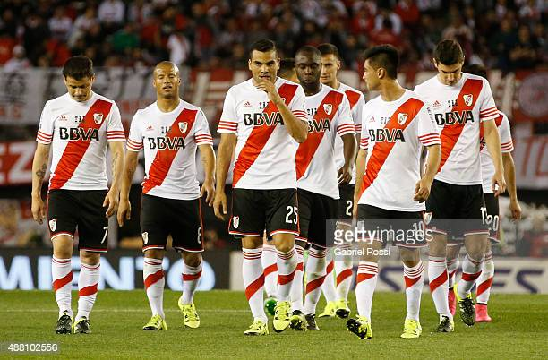 Players of River Plate leave the field at the end of the first half during a match between River Plate and Boca Juniors as part of 24th round of...