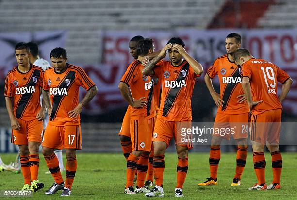 Players of River Plate leave the field at the end of the first half during a match between River Plate and Sarmiento as part of Torneo Transicion...