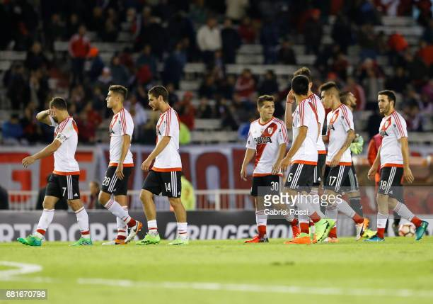 Players of River Plate leave the field during a group stage match between River Plate and Emelec as part of Copa CONMEBOL Libertadores Bridgestone...