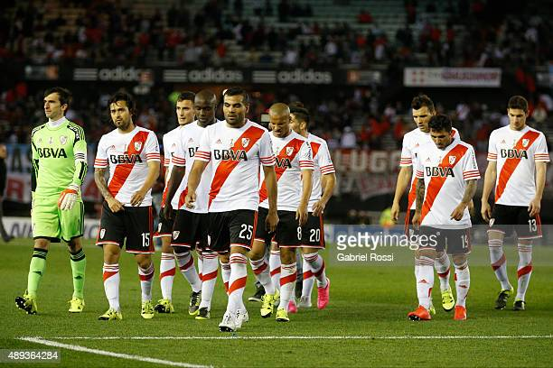 Players of River Plate leave the field during a match between River Plate and Lanus as part of 25th round of Torneo Primera Division 2015 at...