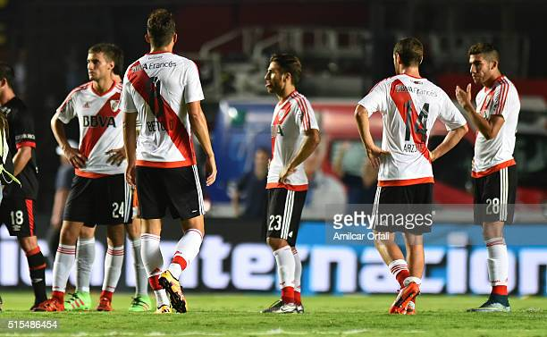 Players of River Plate look dejected after a match between Colon and River Plate as part of Torneo de Transicion 2016 at Brigadier Lopez Stadium on...
