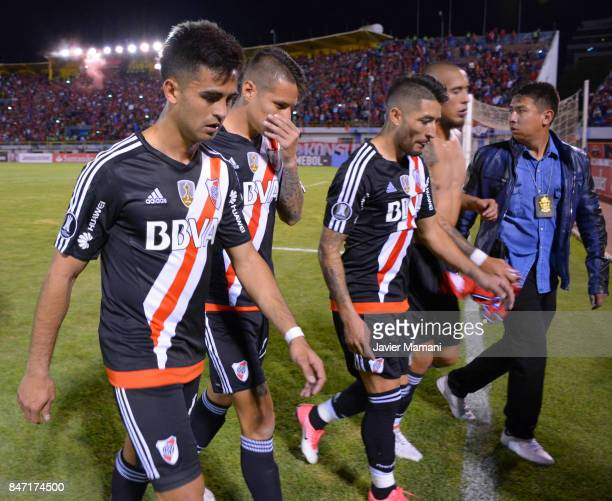 Players of River Plate look dejected after loosing a first leg match between Wilstermann and River Plate as part the quarter finals of Copa CONMEBOL...